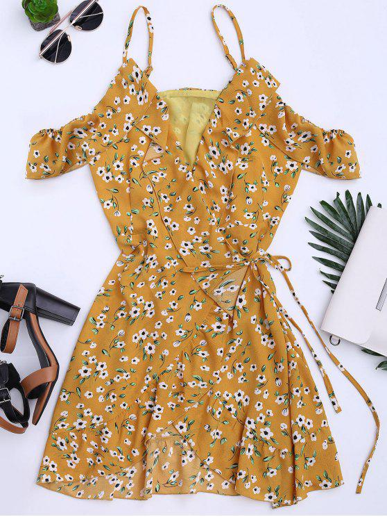 womens Floral Print Ruffles Cami Wrap Dress - FLORAL S