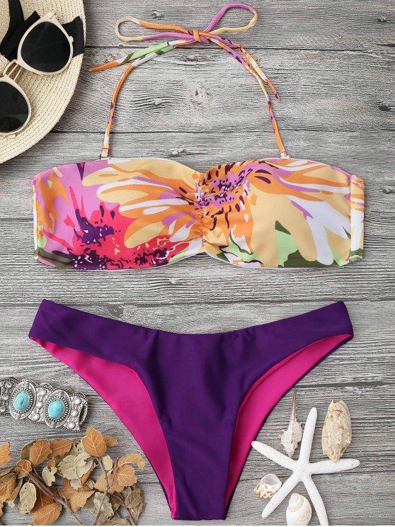 online Padded Watercolor Bandeau Bikini Set - MULTICOLOR S