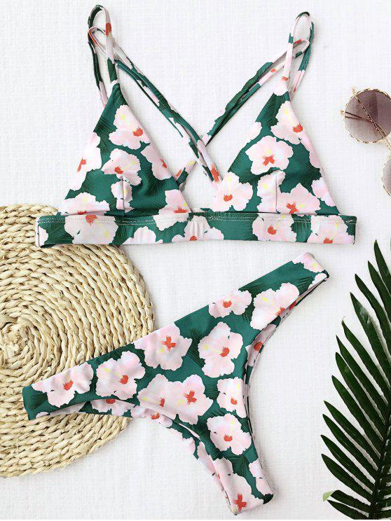 fashion Floral Padded Cross Back Bikini - FLORAL S