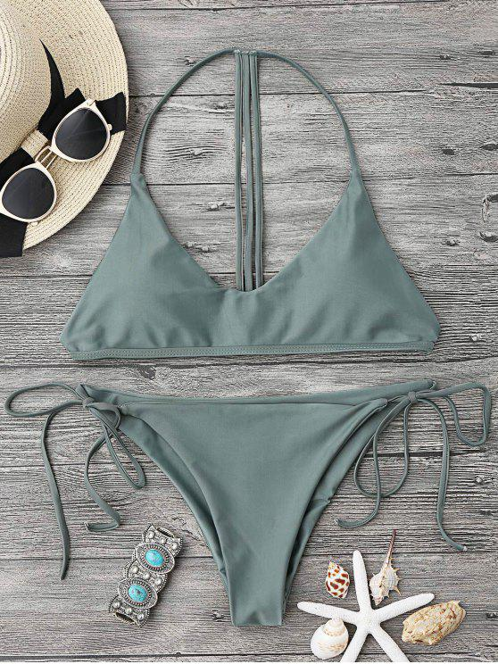 fancy T Back Soft Pad String Bikini Set - ARMY GREEN M