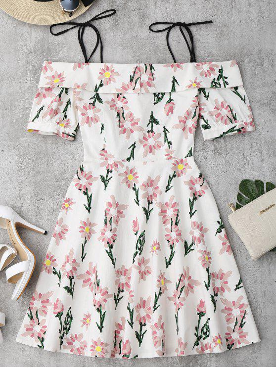affordable Floral Print Ruffle Hem Cami Dress - FLORAL M