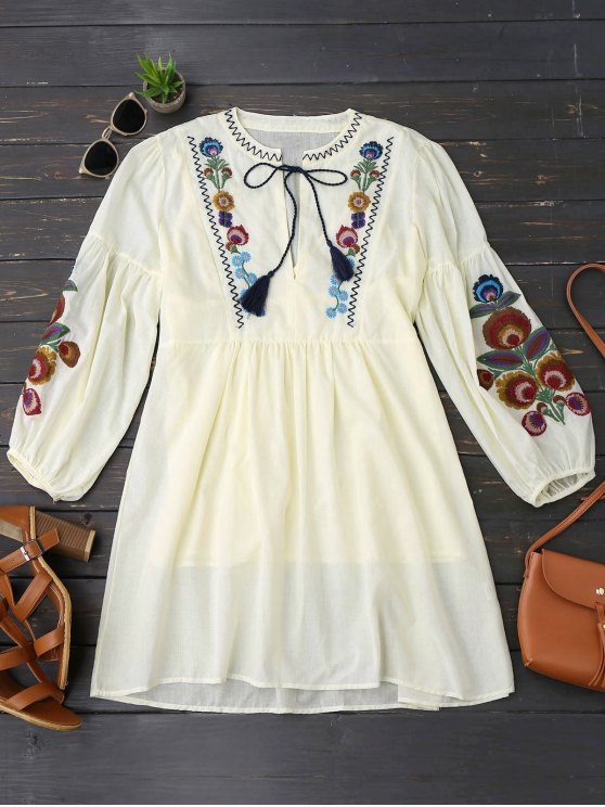 women Long Sleeve Floral Embroidered Tunic Dress with Cami Tank Top - LIGHT YELLOW M