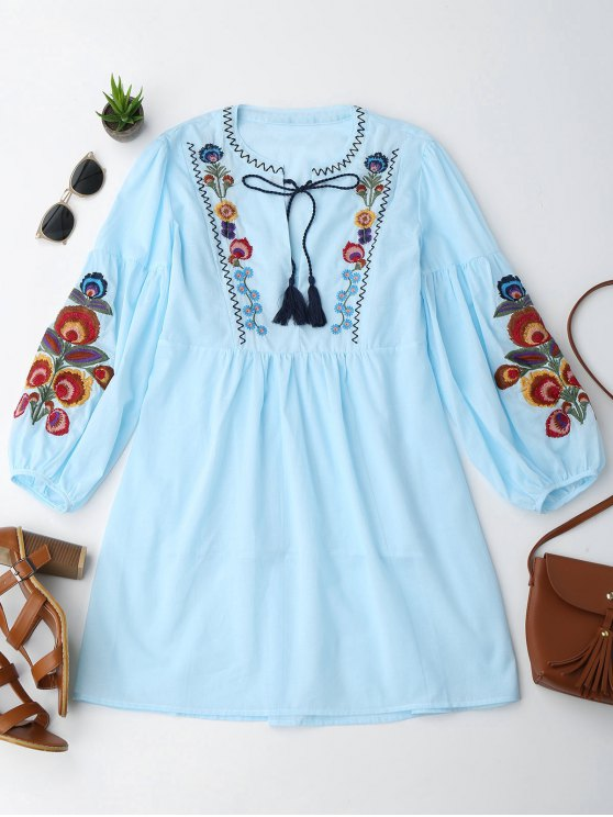 ladies Long Sleeve Floral Embroidered Tunic Dress with Cami Tank Top - LIGHT BLUE L