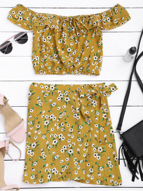 trendy Floral Print Ruffle Top and Wrap Skirt - FLORAL L