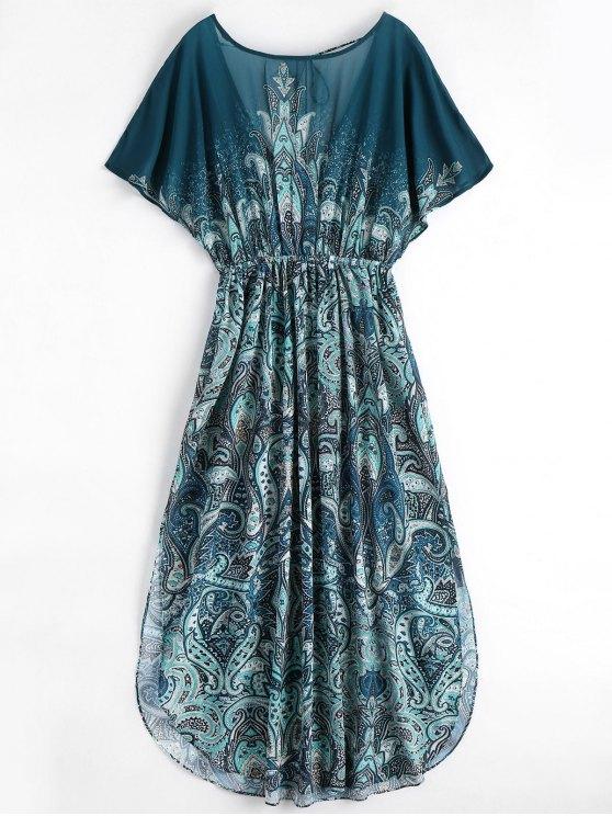 women's Batwing Graphic Slit Chiffon Maxi Dress - MULTI L