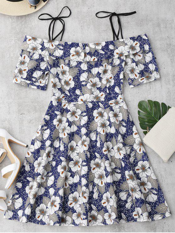 fancy Self Tie Floral Printed Cami Dress - FLORAL L