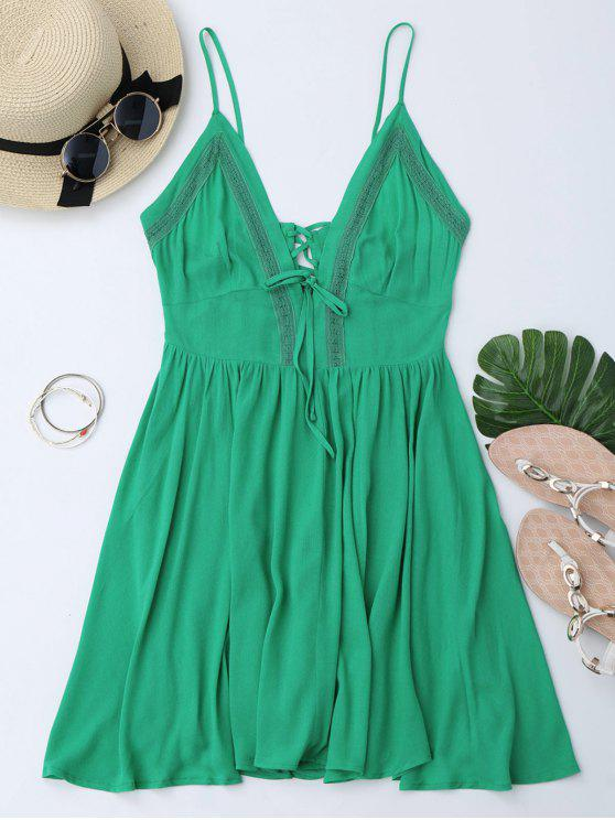 Plunge Low Back Lace Up Sundress - Verde M