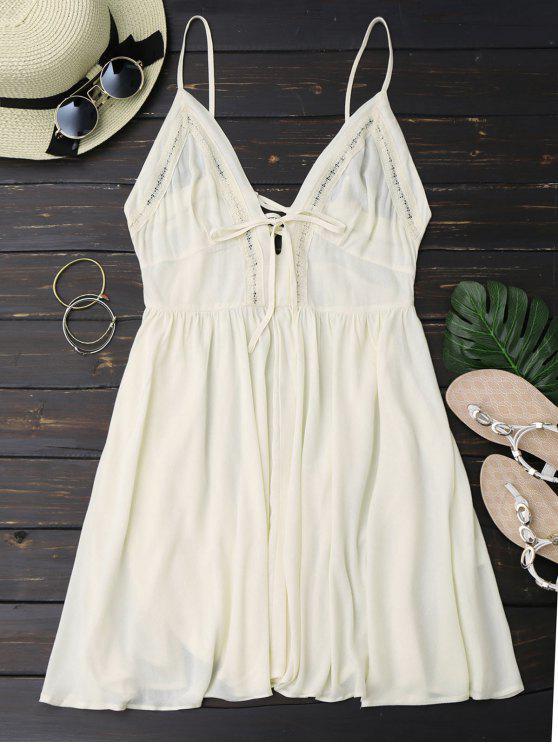 shop Plunge Low Back Lace Up Sundress - PALOMINO M