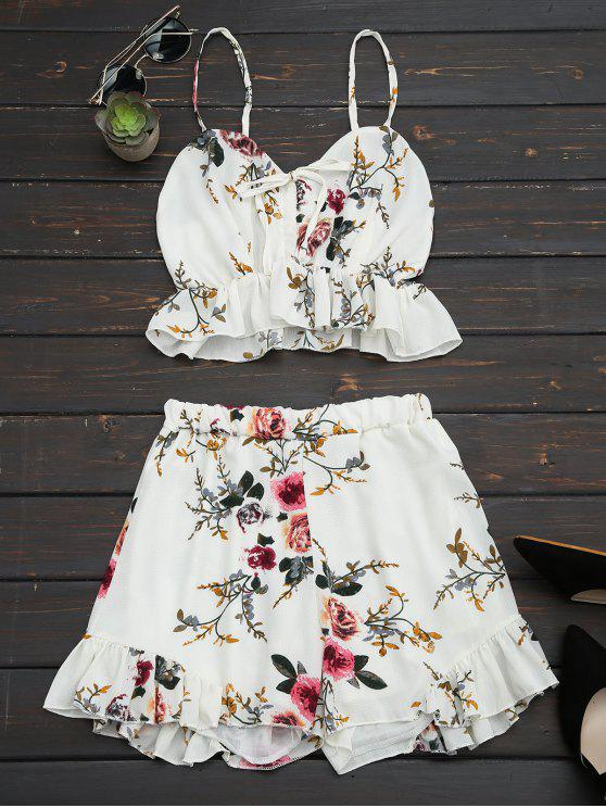 fancy Floral Print Ruffled Cami Two Piece Set - FLORAL S