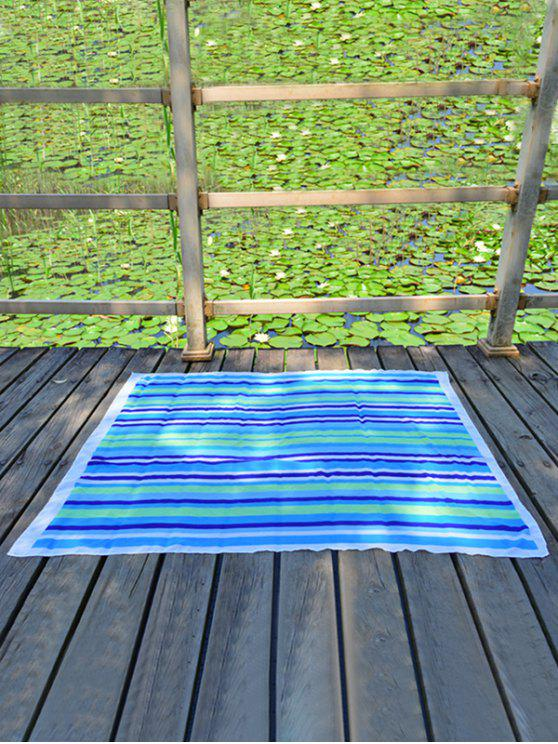 ladies Rectangle Chiffon Striped Beach Throw - LAKE BLUE