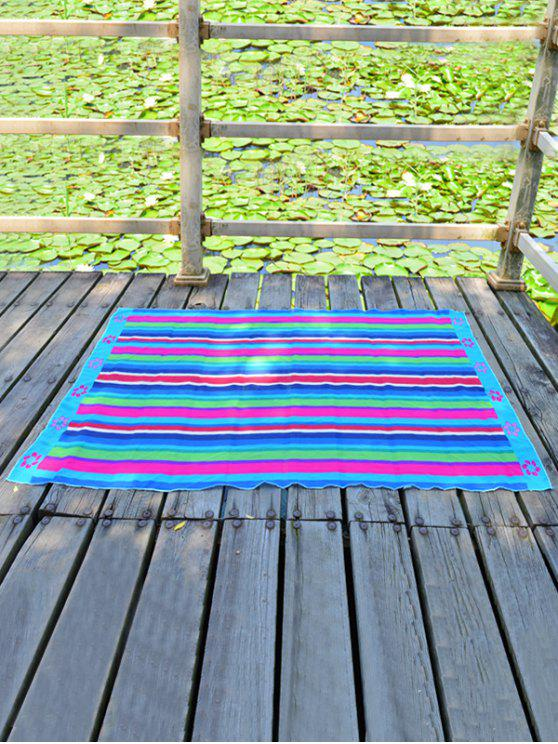 lady Floral Printed Rectangle Chiffon Striped Beach Throw - AZURE