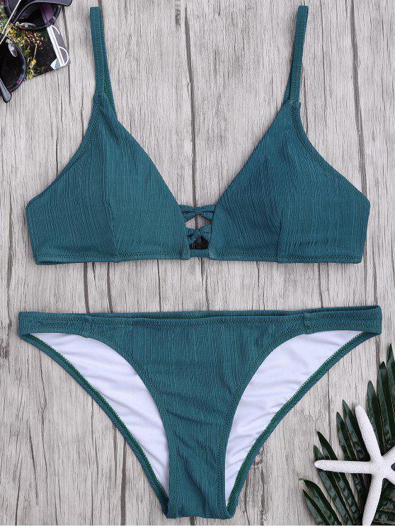 Criss Cross Spaghetti Strap textura conjunto de bikini - Verdinegro XL
