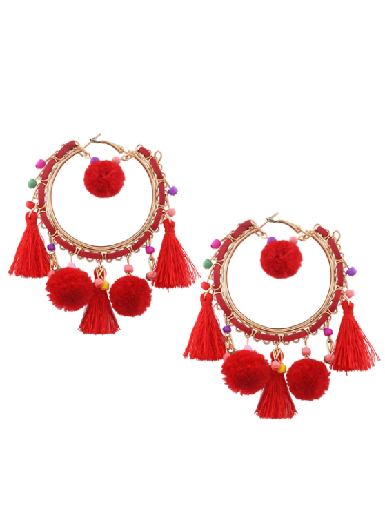 Fuzzy Ball Beaded Tassel Hoop Earrings - Vermelho