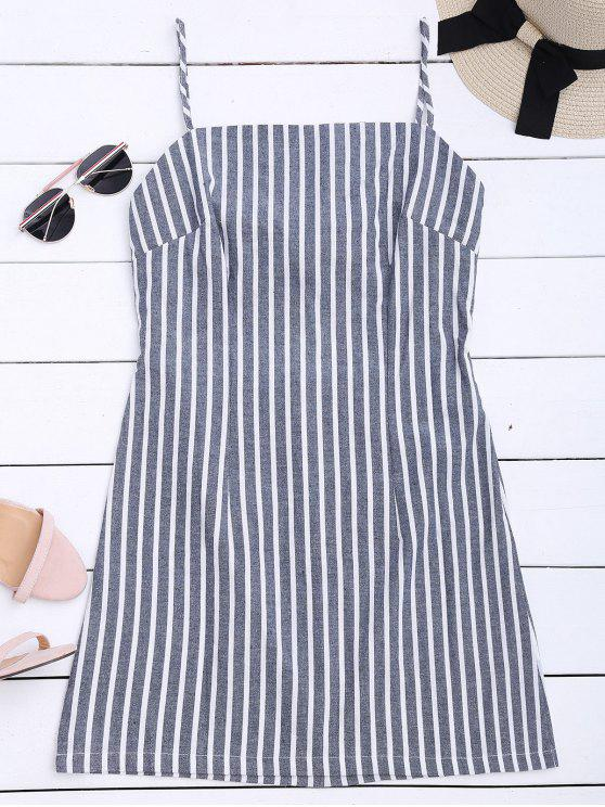 Self Tie Striped Cami Shift Dress - Stripe S