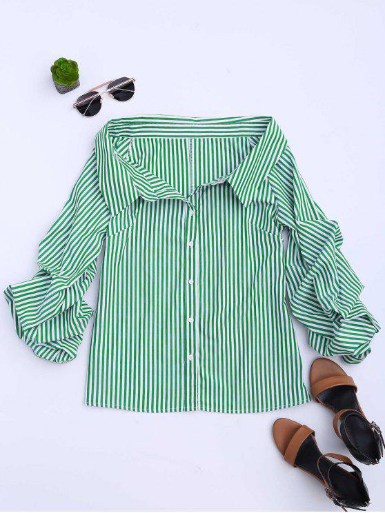 shops Button Up Puff Sleeve Striped Bloues - STRIPE L