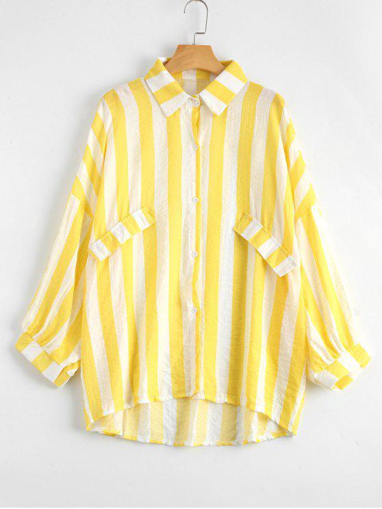 Botón de gran tamaño hasta blusa de rayas - Amarillo Única Talla