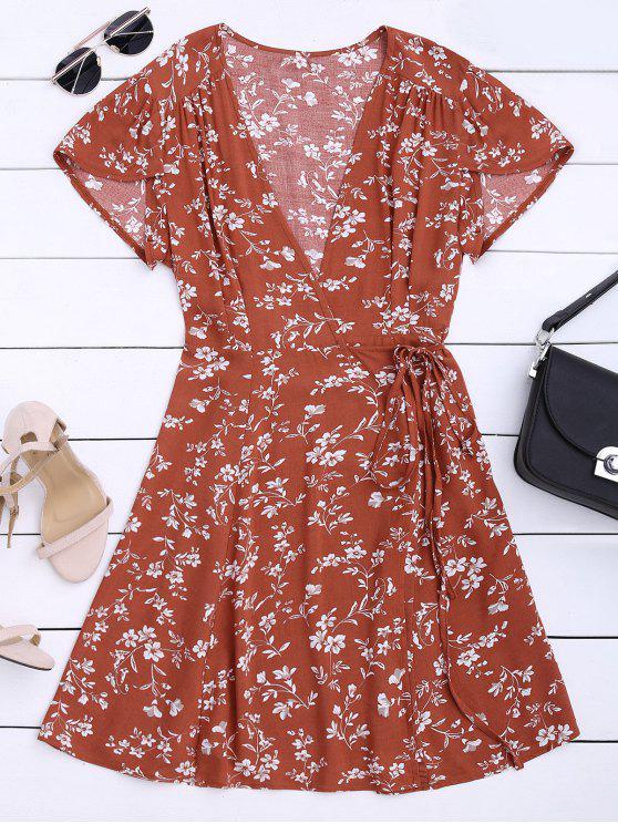 ladies Floral Print Self Tie Wrap Dress - FLORAL L
