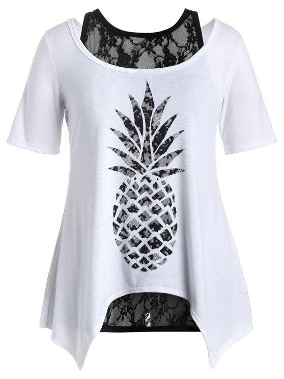 lady Plus Size Pineapple T-Shirt with Lace Tank Top - WHITE 2XL