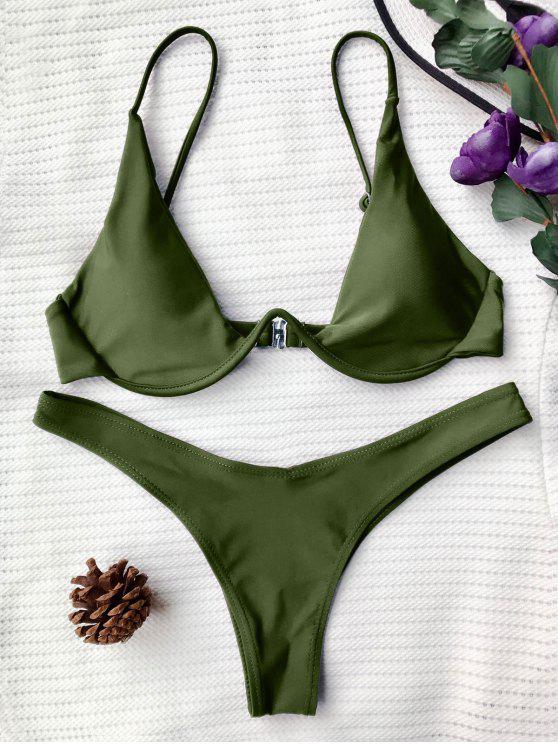 online Push Up Plunge Bathing Suit - GREEN M