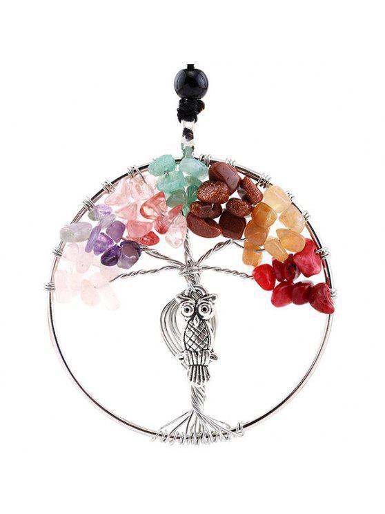 شجرة الحياة فو كريستال البومة محفورة قلادة - متعدد الألوان