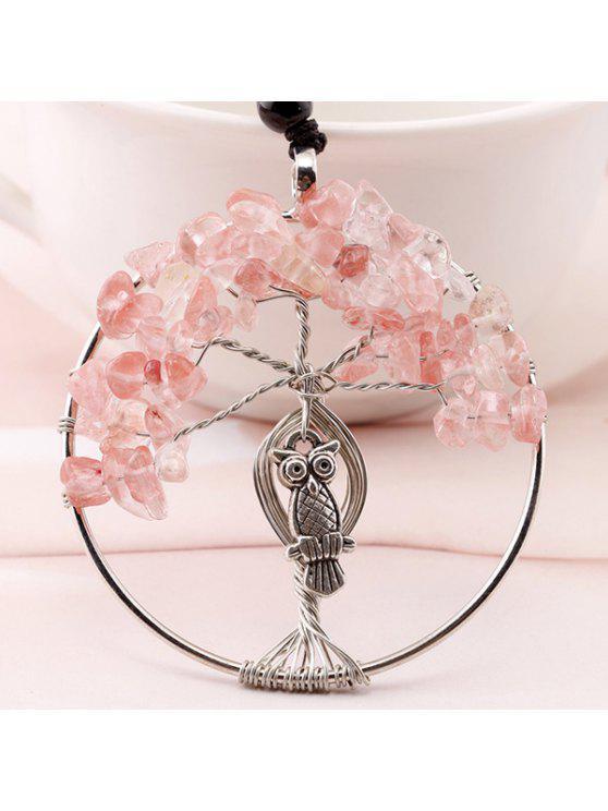 شجرة الحياة فو كريستال البومة محفورة قلادة - زهري