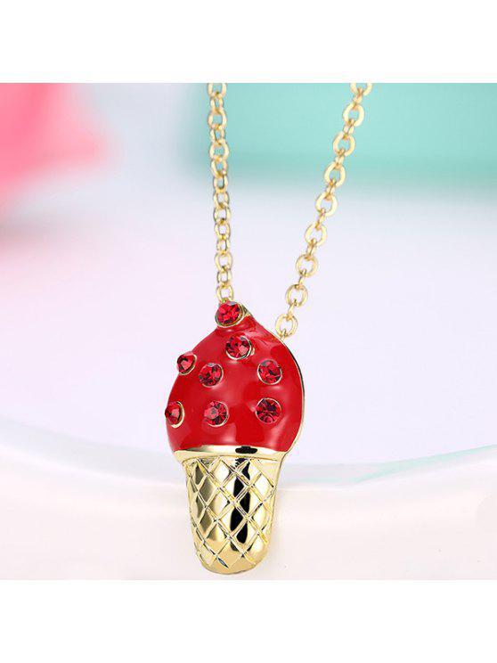 حجر الراين البطانة الآيس كريم تصميم قلادة قلادة - أحمر