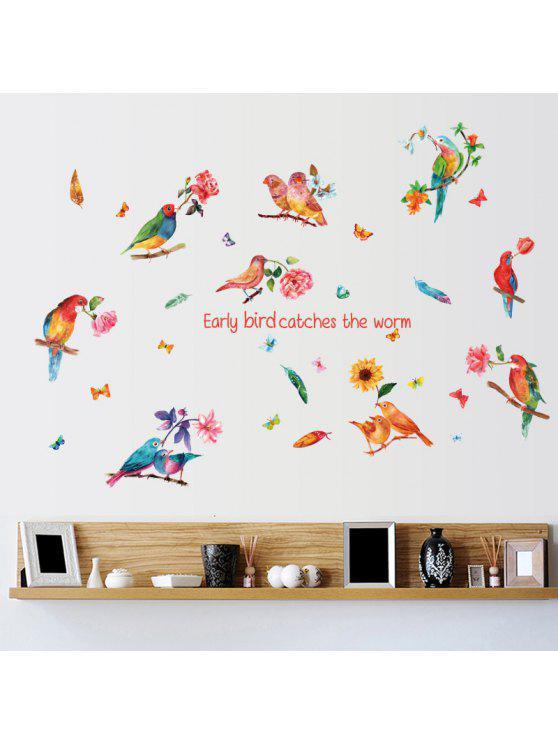 الطيور إلهام ونقلت زهرة الجدار ملصق - ملون 60 * 90CM
