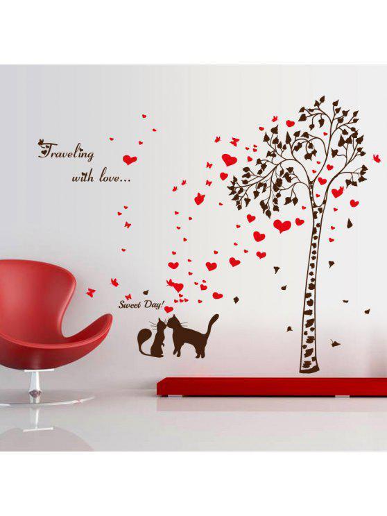 عاشق القط شجرة القلب فراشة الفينيل الجدار ملصق - أسود أحمر 60 * 90CM