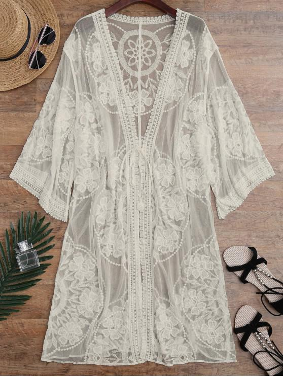 outfit Sheer Lace Tie Front Kimono Cover Up - APRICOT ONE SIZE