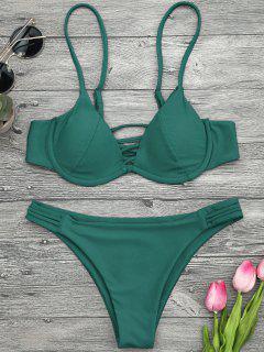 Lattice Padded Underwire Bikini Set - Green S
