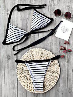 Striped Padded Adjustable String Bikini Set - White And Black M
