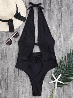 Cut Out High Leg Plunging Neck Monokini - Black M
