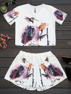 Butterfly Print High Waist Two Piece Set - White L