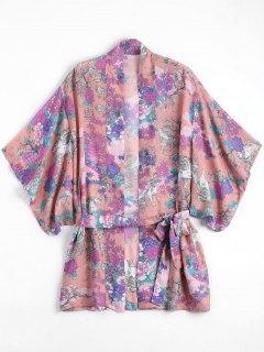 Blouson De Kimono à Motif Floral En Mousseline De Soie - Floral
