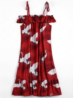 Crane Graphic Ruffles Cold Shoulder Dress - Red L