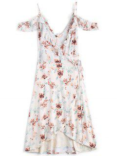 Floral Cold Shoulder Asymmetrical Wrap Dress - Floral M