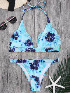 Bralette Tie-Dyed Ruffles Bathing Suit - Lake Blue M