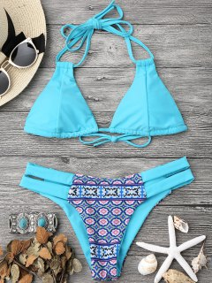 Printed Halter Padded Bikini Top And Bottoms - Turquoise L