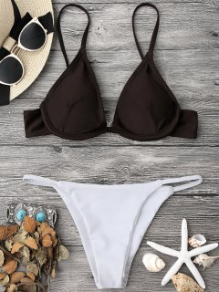 Color Block V String Underwire Bikini Set - White And Coffee M
