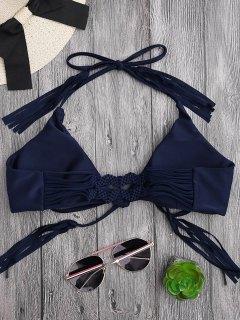 Fringes Halter Braided Front Tied Bikini Top - Purplish Blue M