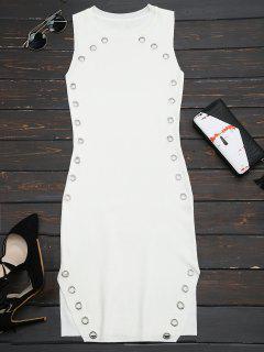 Ring Embellished Slit Bodycon Knit Dress - White