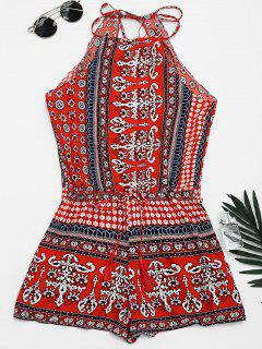 Tribal Print Cut Out Cami Romper - Red M