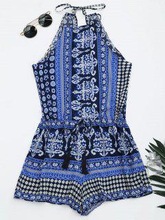 Tribal Print Cut Out Cami Romper - Blue L