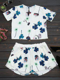 Printed Top With High Waist Shorts Set - White 2xl