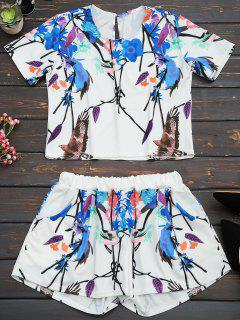 Printed Top And High Waist Shorts Set - Multi L