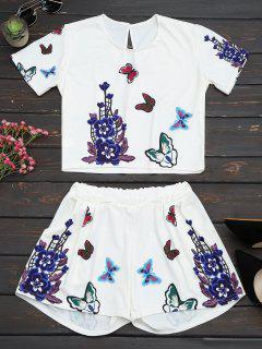 Ensemble Haut Et Shorts Imprimés Fleur Papillon - Blanc 2xl