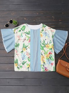 Oversized Ruffled Sleeve Graphic Top - Multicolor S