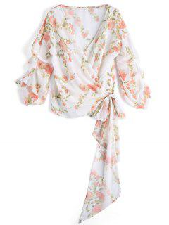 Floral Draped Sleeve Wrap Top - Floral M