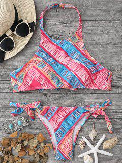 High Neck Bikini Top And Tieside Bottoms - Multicolor S