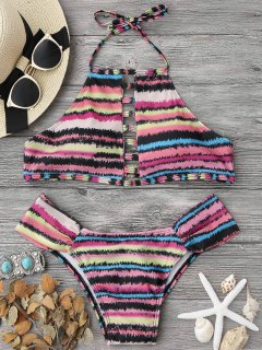 Ladder Cutout Striped High Neck Bikini Set - Multicolor S